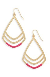 Canvas Jewelry Women's Teardrop Pendant Earrings Gold Pink
