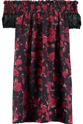 Mother Of Pearl Imogene Off The Shoulder Printed Silk Satin Mini Dress Claret
