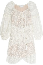 Zimmermann Embroidered Silk Georgette Dress Ivory