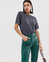 Neon Rose Relaxed T Shirt With Stardust Print Black