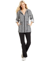 Style And Co. Petite Cinch Waisted Packable Anorak Black White