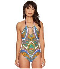 Trina Turk Pacific Paisley High Neck One Piece Multi Women's Swimsuits One Piece