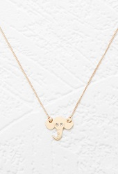 Forever 21 Elephant Charm Necklace Gold Clear