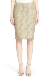 Women's St. John Collection Fringe Trim Raffia Knit Pencil Skirt