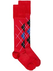 Versace Checked Socks Red