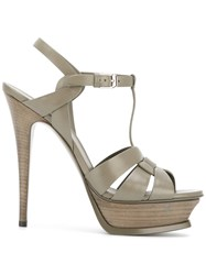 Saint Laurent Tribute Sandals Women Leather 36 Grey