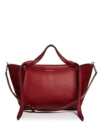 Elena Ghisellini Usonia Medium Leather And Suede Satchel Ribes Red Silver