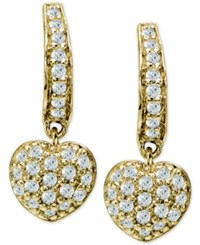 Giani Bernini Cubic Zirconia Pave Heart Drop Earrings Only At Macy's Gold