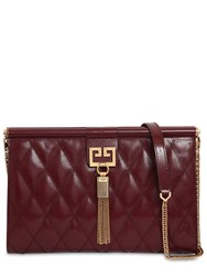 Givenchy Medium Gem Quilted Leather Clutch Bordeaux