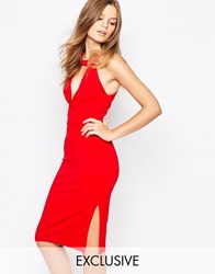 Twin Sister V Neck Knee Length Pencil Dress Red