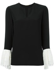 Saint Laurent Contrasting Bell Sleeve Blouse Black