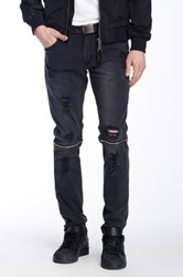 Ron Tomson Faux Leather Trimmed Distressed Zip Jean Black