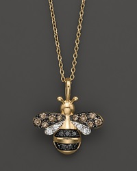 Bloomingdale's Diamond Bumble Bee Pendant Set In 14K Yellow Gold 0.20 Ct. T.W. No Color