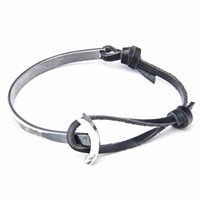 Anchor And Crew Coal Black Galleon Leather Silver Half Bangle