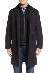 Cole Haan Men's Wool Blend Overcoat With Knit Bib Inset