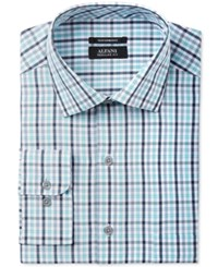Alfani Black Men's Classic Regular Fit Performance Turquoise Grey Outline Check Dress Shirt Only At Macy's