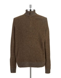 Black Brown Lambswool Zipper Placket Sweater Brown Tweed