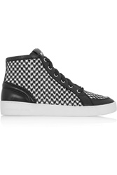 Michael Michael Kors Keaton Houndstooth Print Calf Hair And Leather Sneakers Black