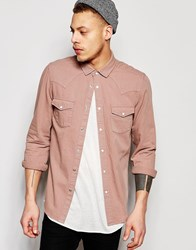 Asos Western Denim Shirt In Dusty Pink With Long Sleeves Pink