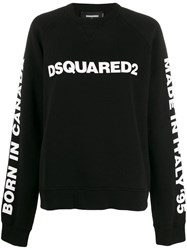 Dsquared2 Logo Print Oversized Sweatshirt Black