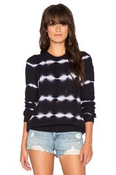 Autumn Cashmere Tie Dye Torn Stitch Crew Sweater Navy