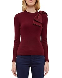Ted Baker Bow Detail Sweater Maroon