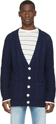 Band Of Outsiders Navy Blue And White Dip Dyed Cuff Cardigan