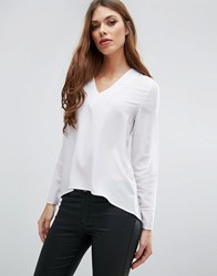 Pieces Andrea Long Sleeved V Neck Top Bwhi White
