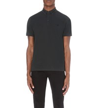 The Kooples Contrast Trim Cotton Pique Polo Shirt Dark Green Noir