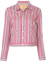 Hysteric Glamour Striped Denim Jacket Pink And Purple
