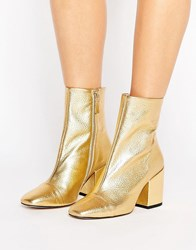 Mango Gold Leather Boot Gold