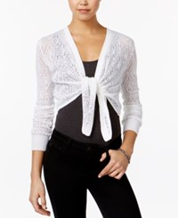 Ohmg Juniors' Pointelle Knit Tie Front Shrug White