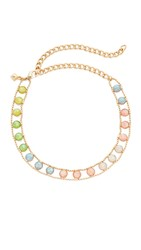 Rebecca Minkoff Illusions Choker Necklace Antique Gold Rainbow Opal