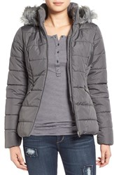 Junior Women's Krush Hooded Puffer Coat With Faux Fur Trim Grey