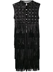 Caban Romantic Embroidered Leather Coat With Fringes Black