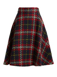 Miu Miu A Line Tartan Knit Wool Skirt Blue Multi