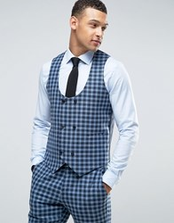 Asos Slim Suit Double Breasted Waistcoat In 100 Wool Blue Check Blue