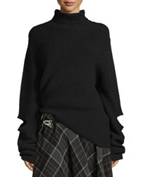 Public School Cutout Oversized Ribbed Sweater Black
