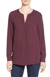 Pleione Women's Slit Neck Shirttail Blouse Burgundy Stem