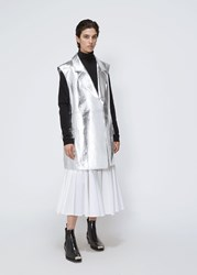 Calvin Klein 205W39nyc 'S Metallic Leather Gilet Jacket In Silver Size Small 100 Lamb Leather