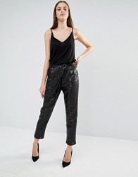 Lavish Alice Sequin Crossover D Ring Trousers Black