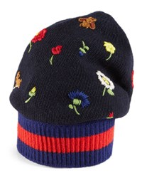 Gucci Flower And Bee Embroidered Knit Hat Navy Blue Navy Blue