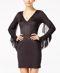 Material Girl Juniors' Faux Suede Fringe Bodycon Dress Only At Macy's Black