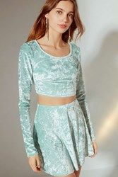 Urban Outfitters Uo Crushed Velvet A Line Skirt Mint