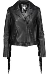 Haute Hippie Fringed Leather Biker Jacket Black