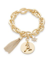 Rj Graziano A Initial Chain Link Charm Bracelet Gold