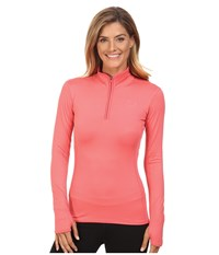 The North Face Motivation 1 4 Zip Pullover Calypso Coral Women's Long Sleeve Pullover Red