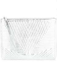 Golden Goose Deluxe Brand Quilted Star Clutch Metallic