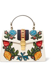 Gucci Sylvie Medium Chain Embellished Appliqued Leather Tote Off White