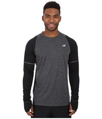 New Balance Performance Merino Long Sleeve Heather Charcoal Black Men's Long Sleeve Pullover